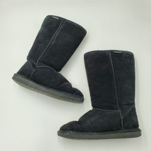 Bearpaw Black Suede Leather Fuzzy Winter Boots 9